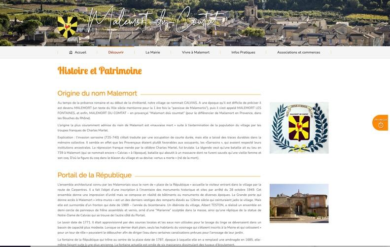 Site Internet de la ville de Malemort-du-Comtat